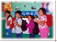 All children are included in AIEF's fair distribution of backpacks and school supplies.<