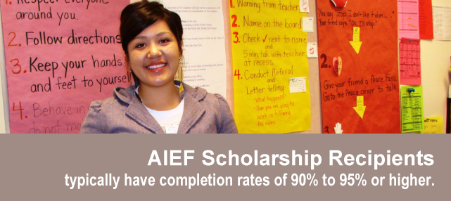 AIEF Scholarship Recipients typically have retention rates of 95& or higher.