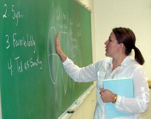 Urla in front of blackboard