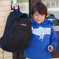A photo of Payden with his new backpack