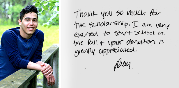 Devon's Thank You - Thank you so much for the scholarship. I am very excited to start school in the fall and your donation is greatly appreciated.