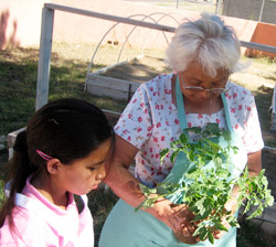 Native American Elder and child in garden.