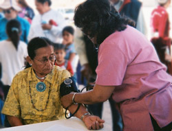 Native American Elder receiving Health services.