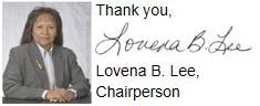 Sincerely, Lovena B. Lee, SWRA Chairperson