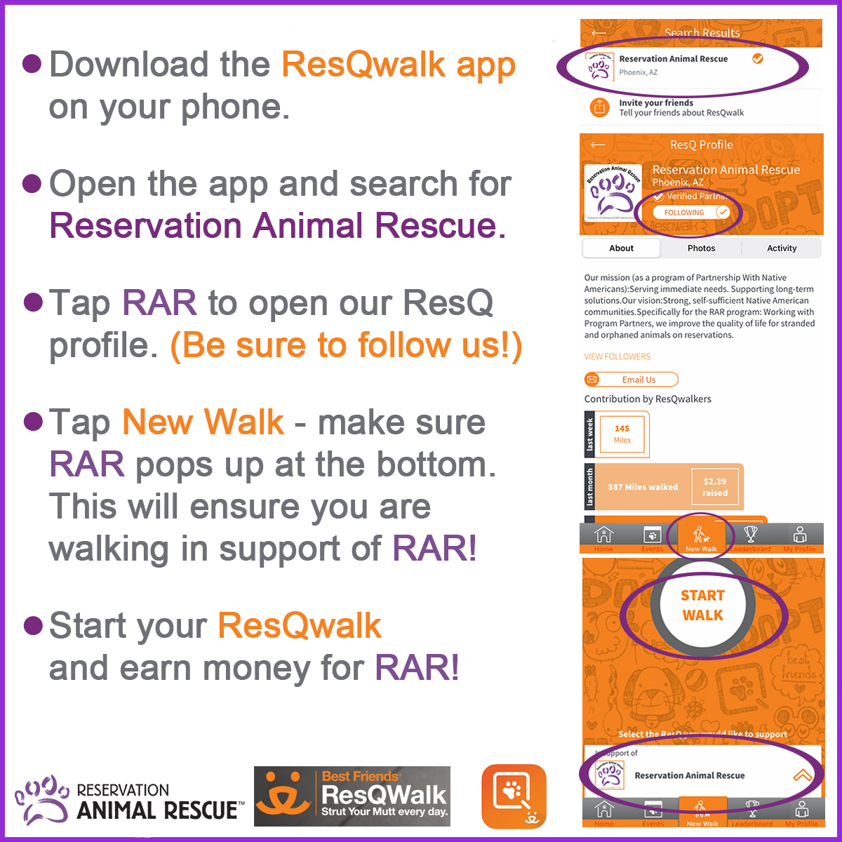 How-to instructions for the ResQwalk app