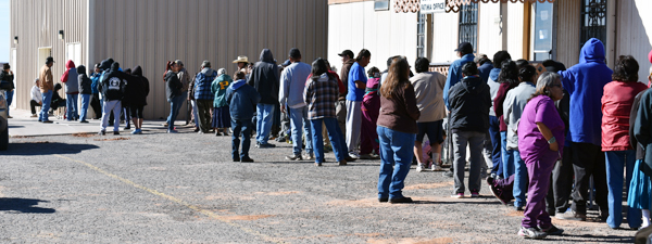 Participants waiting in line at the food pantry in Chinle