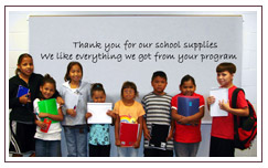 Native children thank us for school supplies