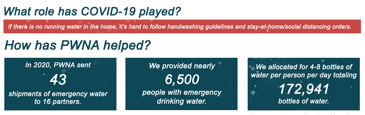 If there is no running water in the home, it's hard to follow handwashing guidelines and stay-at-home/social distancing orders.