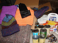 Emergency winter box filled with supplies