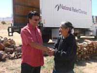 Native American Elder appreciating winter fuel